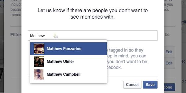 elimina ricordi facebook